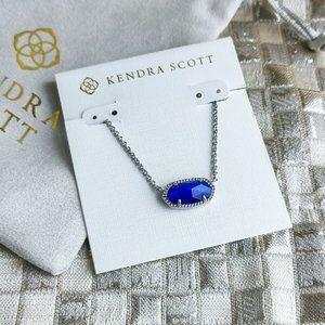 Kendra Scott Elisa Necklace Silver Blue Cats Eye